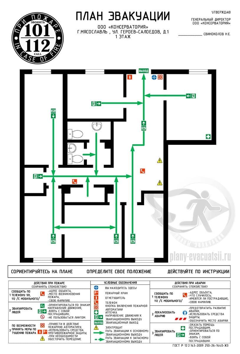 Образец плана эвакуации вертикальный